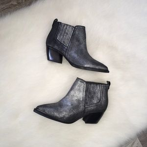 Sbicca Vintage Cardinal Pewter Leather Booties Sz7